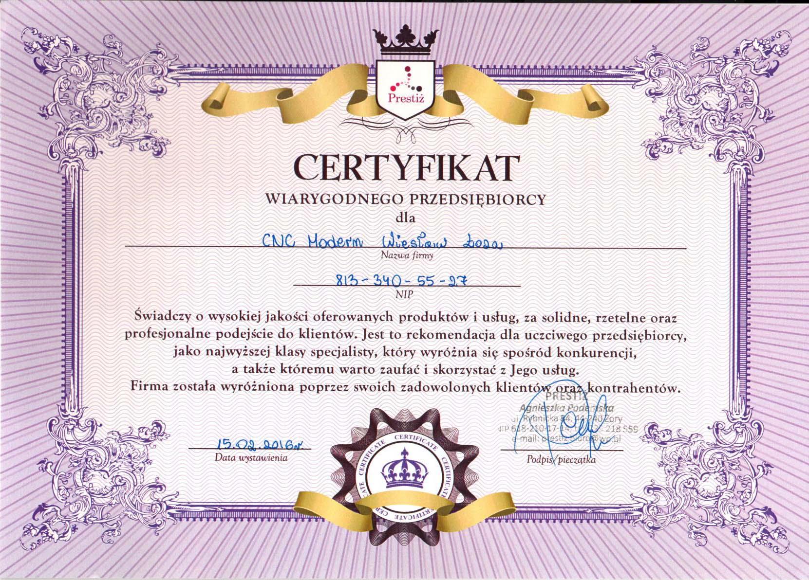 Certyfikat wiarygodnego Przedsiębiorcy