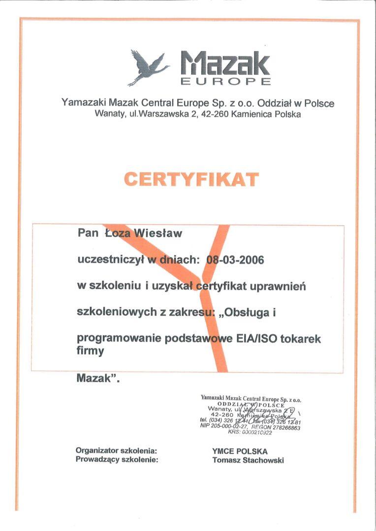 Certyfikat MAZAK: YMCE POLSKA