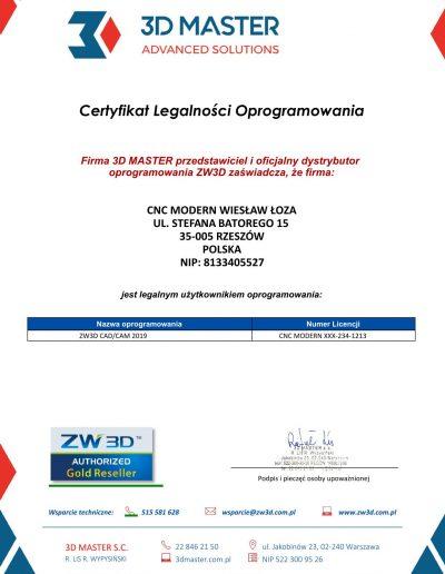 Certyfikat legalności oprogramowania ZW3D