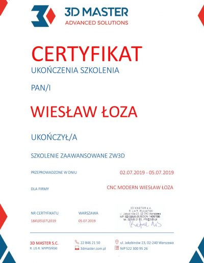 Certyfikat ukończenia szkolenia zaawansowanego ZW3D