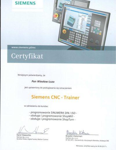 SIEMENS Trainer CNC 2017 Wiesław Łoza