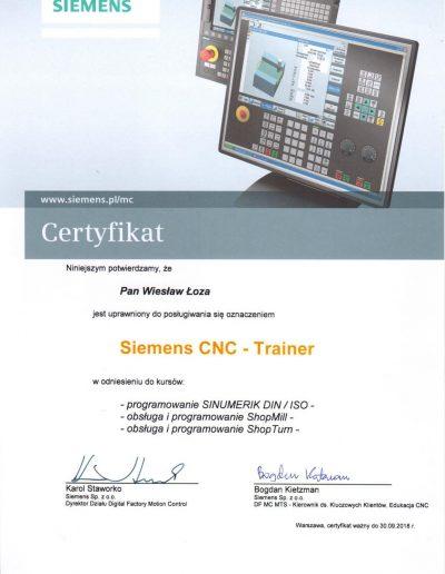 SIEMENS Trainer CNC 2018 Wiesław Łoza