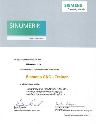 SIEMENS Trainer CNC 2019 Wiesław Łoza