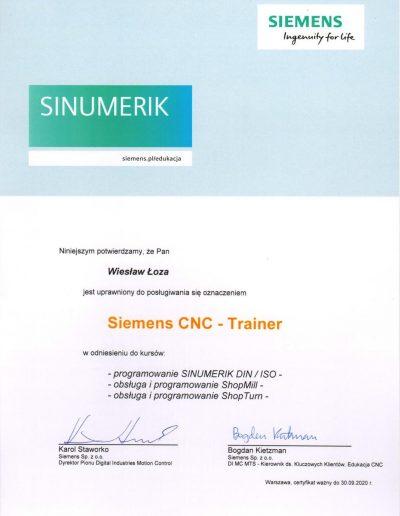 SIEMENS Trainer CNC 2020 Wiesław Łoza