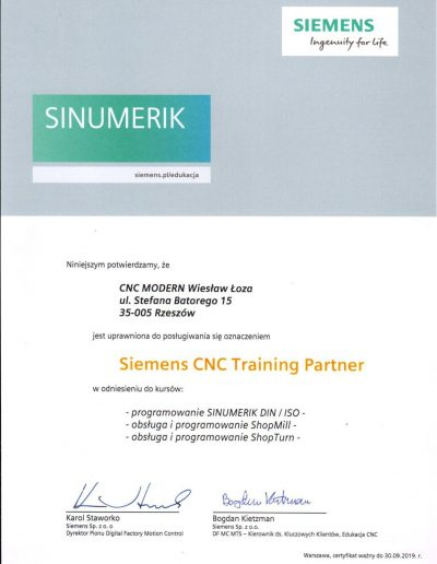 Siemens CNC Training Partner 2019