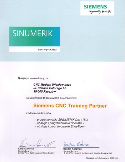 Siemens CNC Training Partner 2020