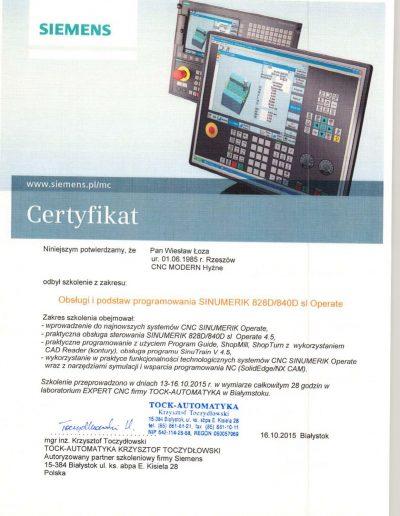 TOCK Automatyka Certyfikat Wiesław Łoza