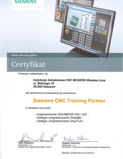 Siemens CNC Training Partner 2017